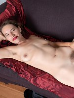 Bridgette Aleister strips and orgasms on her sofa